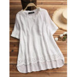 New Short Sleeve V-neck Lace Embroidery Solid Blouse