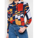 New Women Stand Collar Geometric Pattern Long Sleeve Blouse