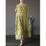New Plus Size Floral Print Short Sleeve Maxi Dress