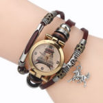 New Gold Eiffel Tower Pattern Bracelet Women Quartz Watch