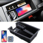 New DC 12V QI Car Center Console Wireless Charging Storage Box Armrest Organizer for BMW F20/F21 Saden 12-18