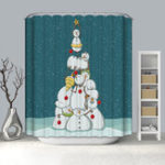 New 180x180CM Waterproof Long Bathroom Shower Curtain Gold Christmas Tree with 12 Hooks