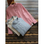 New Women Casual Plaid Turn-Down Collar Long Sleeve T-Shirts