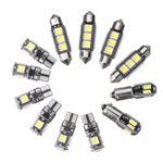 New 12PCS Car Interior LED Lights Kit T10 BA9S Festoon Dome Bulb White for BMW E36 3 Serie Convertible 1992-1998