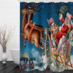 New Christmas Shower Curtain Xmas Santa Claus Driving Deer Car in Snow Town Waterproof Bathroom Bath Curtain