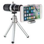 New 12X Telescope Lens with Mini Desktop Portable Tripod Phone Clip