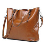 New Women Retro Genuine Leather Oil Wax Bucket Handbag