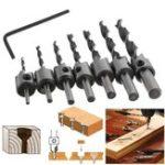 New 7pcs 3mm-10mm 5 Flutes Countersink Drill Bit Set HSS Carpentry Reamer Woodworking Chamfer Drill