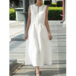 New Women Solid Color Sleeveless V-Neck Back Zipper Dress