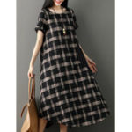 New Short Sleeve Plaid Stripe Patchwork Irregular Hem Dress