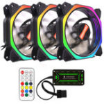 New Coolmoon 3PCS 12cm Multilayer Backlit RGB Cooling Fan with IR Controller for Desktop PC