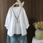New Women 3/4 Sleeve Button Stand Color Vintage Blouse