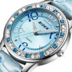 New BIDEN BD1110 Classic Crystal Leather Strap Women Watch