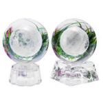 New Moon Crystal Ball With Light Effect Base 3D Engraving Colorful Ornaments Crafts Desktop Decorations