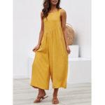 New Women Cotton Wide Leg Sleeveless Backless Jumpsuit