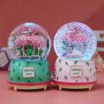 New Creative Crystal Flamingo Musical Snow Globe Music Box Valentine's Birthday Gift