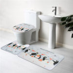 New 3PCS/Set Cartoon Animal Bathroom Non-Slip Christmas Penguin Pedestal Rugs Lid Toilet Seat Covers Bath Mats Pattern Carpets Soft