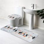 New 3PCS/Set Cartoon Animal Bathroom Non-Slip Christmas Penguin Pedestal Rugs Lid Toilet Seat Covers Bath Mats Pattern Carpets Soft