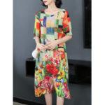 New Floral Print Elegant Dress