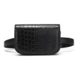 New Women Faux Leather Alligator Black Solid Crossbody Bag