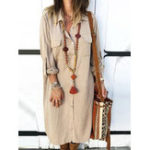 New Adjustable Sleeve Button Turn-Down Collar Long Shirt Dress