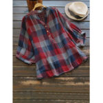 New Women Casual Plaid V-Neck 3/4 Sleeve T-Shirts