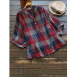 New Women Casual Plaid V-Neck 3/4 Sleeve T-Shirts