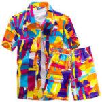 New Men Hawaiian Printing Loose Shirt Suit Board Shorts