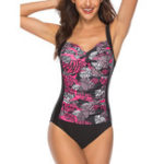 New One-Piece Slim Cover Belly Print Bikini Ladies Swimwear