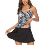 New Split Conservative Skirt Swimdress With Shorts