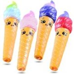 New Squishy Pen Cap Smile Face Ice Cream Cone Slow Rising Jumbo With Pen Stress Relief Toys Student Office Gift
