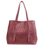New 2 PCS Women Hollow Out PU Leather Tote Bag Crossbody Bag