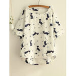 New Cat Print Crew Neck Blouse