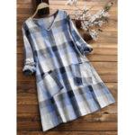 New Vintage Cotton Pocket Plaid Dress