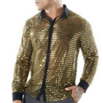 New Mens Scales Glitter Sequins Nightclub Dance Costumes Shirts