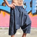 New Men Stripe Drawstring Calf-Length Wide Leg Pants