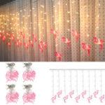 New AC220V 3.5M 96 LED Flamingo String Curtain Light Fairy Lamp Wedding Indoor Home Decor EU Plug