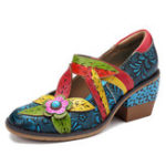 New SOCOFY Handmade Floral Leather Shoes