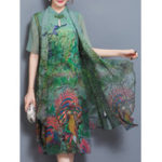 New Elegant Women Chinese Frog Art Print Two-piece Dress