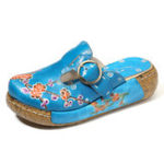 New SOCOFY Retro Leather Handmade Flower Buckle Platform Sandals