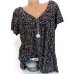 New Women Casual Floral Print V-Neck Short Sleeve Blouse