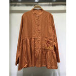 New Women Retro Embroidery Button Stand Collar Blouse