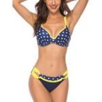New Gathers Push Up Bikini Spot Ladies Swimwear