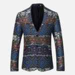 New Mens Ethnic Style Printing Suit Jacket Blazers
