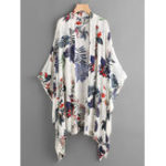 New Floral Print Long Sleeve Irregular Hem Cardigans