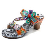 New SOCOFY Bohemian Leather Heeled Sandals
