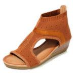 New Bohemian Sandals Breathable Mesh Slip On Wedge Sandals