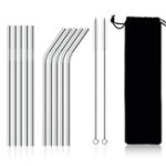 New 10Pcs Stainless Steel Metal Drinking Straw Reusable Straws Set Cleaner Brush Kit With Pounch