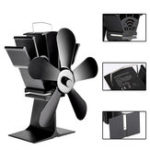 New 8.8inch 5 Blades Fireplace Fan Wood Burner Stove Thermal Heat Power Fan
