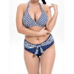 New Split Striped Halter Neck Ties Bikini